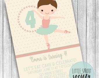 Personalized Ballerina Birthday Invitation
