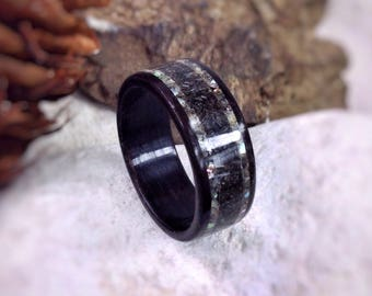 The Kraken - Megalodon Tooth, Abalone & Ebony Bent Wood Ring - Made to order - All US and UK Ring Sizes