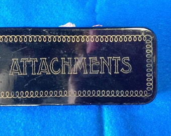 Vintage Greist Sewing Machine Attachments in Metal Box