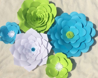 Set of 5 extra large and small paper flowers, customized with your color choice, backdrop flowers for cake table, wall art, party decor