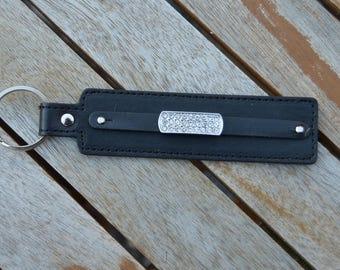 rhinestone black leather keychain