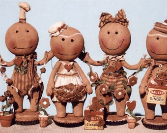 Primitive Cloth Doll PATTERN - Gingerbread for All Seasons - -HHF445