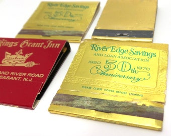 Vintage Gold Matchbooks - Metallic Matchbooks - New Jersey Matches
