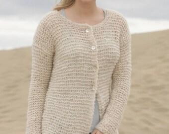 Women jacket,hand knit DROPS jacket, Alpaca Silk jacket, hand knit, made to order
