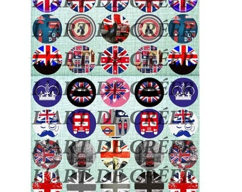 Digital prints of 40 cabochons 25mm, London, England