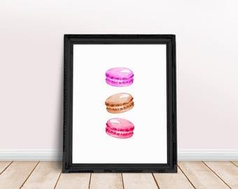 Food Art | Macarons, Ice Cream Art, Macarons Wall Art, Dessert Art, Watercolor Food, Immediate Download, Printable Poster, Sweet Treat Art