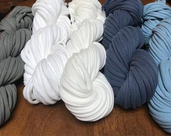 T-Shirt Yarn (45-120ft), PatriotsCrafts TShirt Yarn, Spaghetti Yarn, Cotton Yarn, Bulky Yarn, Craft Material, Macrame, Rug, Recycled Yarn