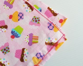 Cupcake Flannel Baby Blanket, Receiving Blanket, Flannel Blanket, Baby Blanket, Pink Baby Blanket, Girl Baby Blanket-Ready to Ship