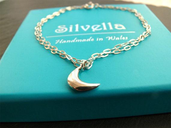 Simple Elegant 'Give Her The Moon' Charm Bracelet - Handmade in Wales - Gift for Her - Moon Bracelet