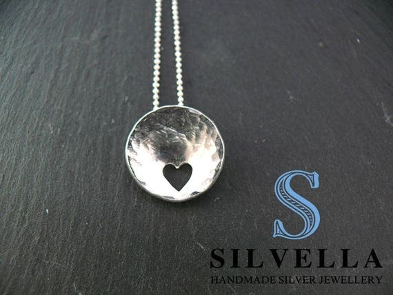 Silver Concaved Cut Out Heart Pendant - Gift for Her - Handmade in Wales - Sterling Silver Necklaces