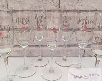 Personalised Wedding bridal party champagne glasses. Prosecco glass  wedding gift ideas for maid of honour, mother of bride and bridesmaids