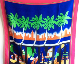 Vintage scarf, summer large scarf, Made in Italy, vintage headscarf, tropical scarf, palm trees, vibrant pink, summer mood, small tablecloth