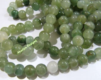 Natural Emerald Jade Agate Beads , Round Plain Beads 8 mm , Sold Per Strand of 13 Inch Long , Emerald Color Smooth Ball Shape Gemstone Beads