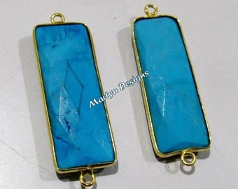 1 pcs.- Best Quality Turquoise Magnesite Connector , Gold Plated Baguette Shape Connector, Double Loop Briolette Bezel 30x12mm approximately