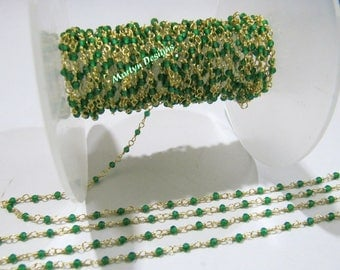1 FOOT- High Quality Fancy Emerald Rondelle Faceted Beaded Chain , 2mm Lab Created Emerald Beads Rosary Chain , Wire Wrapped Beaded Chain.