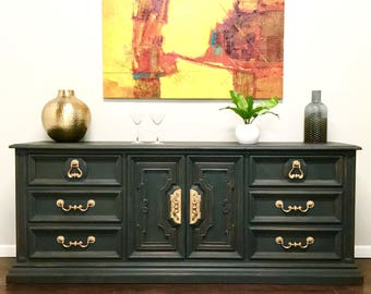 mid century dresser. vintage buffet, white fine furnture company, hand painted, Annie Sloan, chalk paint, graphite, distressed