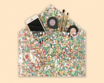 Clear Clutch Purse, Confetti Bag, Clear Vinyl Handbag, Transparent Purse, Envelope Clutch, Confetti Clear Purse, Colorful Clutch Bag