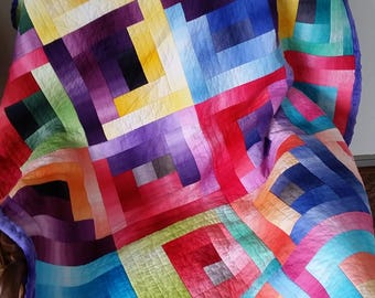 Throw, Lap Quilt, Crib Blanket - Modern, Rainbow Gradient Contemporary Log Cabin, Multicolored, Cozy Backing
