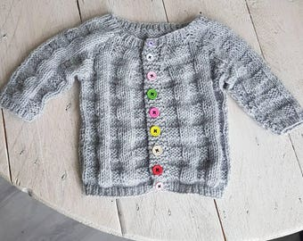 Knitted baby Cardigan with diced motif size 68