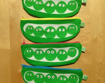 Pea pod pencil case, make up bag, zip pouch hand screen-printed