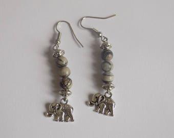 Dangle earring beads Jasper Zebra and elephant pendant.