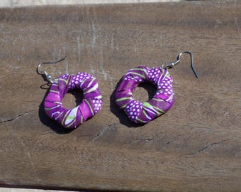 White green purple fabric flower earring