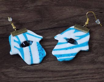 Earring hand Fatima fabric blue turquoise/white