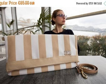 On SALE Ready To Ship summer Fellowship detachable shoulder strap foldable beige-and-white striped pochette stylish chic birthday gift