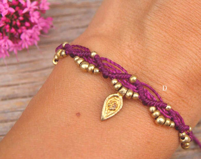 Bracelet or Anklet Mod. Parvati, with brass, adjustable, nickel-free, macramé bracelet, tribal bracelet, waterproof, free shipping