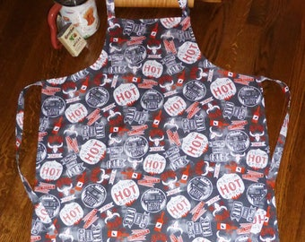 Mens or Womens Adult Barbecue Design Apron, Hot & Spicy BBQ Handmade Apron, Father and Son Apron, Gifts under 20, Vintage Retro Apron