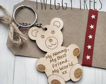 Wooden My Nanny, My best friend, My world  Teddy Bear    Engraved Keyring Gift