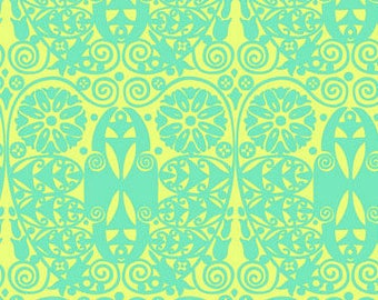 Amy Butler Soul Blossoms Temple Doors in fresh mint -  cotton quilting fabric by the yard