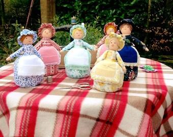 Pin cushion doll, sewing accessory, sewing gift, vintage pattern pincushion,