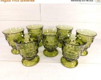 20% OFF SALE - Vintage Set of 7 Green Whitehall Pedestal Drinking Glasses
