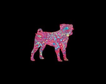 Pug preppy patterned vinyl decal in many prints and sizes!