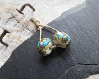 RESERVED * KELLY * tribal beads Lampwork handmade lampwork beads Lampwork, ivory and blue turquoise, handmade.