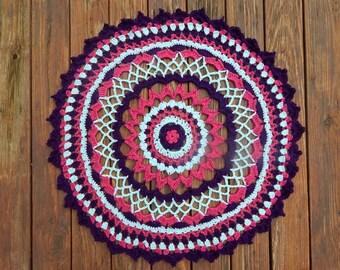 Pink, Purple & Blue Crochet Mandala Wall Hanging, Mandala Tapestry, Boho Decor, Hippie Decor, Mandala Art, Crochet Tapestry, Table Runner,