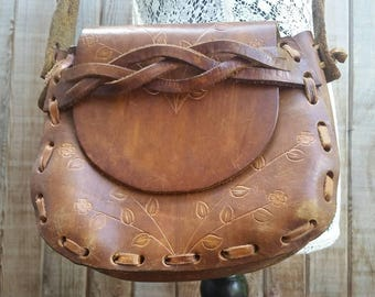 Vintage Tooled Leather Shoulder Bag Boho Style Braided Strap Hippy Purse Tooled Flowers and Vines, made in Mexico.