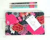 Zipper Pouch, Fabric Pencil Case, Make Up Bag, Cosmetics Bag, Handmade Floral Zip Pouch, Large Pencil Case, Passport Travel Zipper Pouch