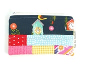 Pretty Patchwork Coin Purse Handmade Fabric Zipper Pouch Money Wallet Store Card Purses Boho Gypsy Gift For Women Small Make Up Bag