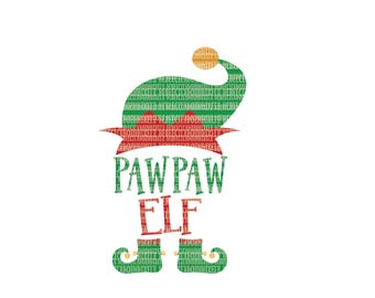 PawPaw Elf Christmas SVG Files for Cricut Design Space and Silhouette Studio Family Shirts Printable Clipart Cut File Commercial Use Ok