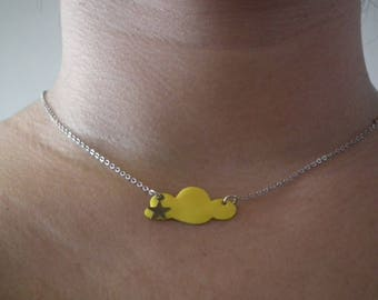 """Necklace """"Head in clouds"""" yellow"""