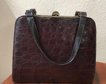Vassar 1930s Genuine Alligator Leather Handbag