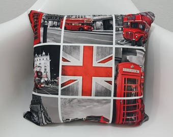 Red Bus England London Pillow Cover 17x17 Cushion Case