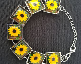Sunflower Bracelet in Silver Setting with Square Glass Cabochons Photo Jewelry Photo Bracelet Sunflower Jewelry Nature Jewelry Nature photos