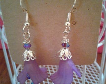Beautiful Violet Lucite Earrings with Purple Crystal Accents. Floral Drop. Makes a Perfect Gift.