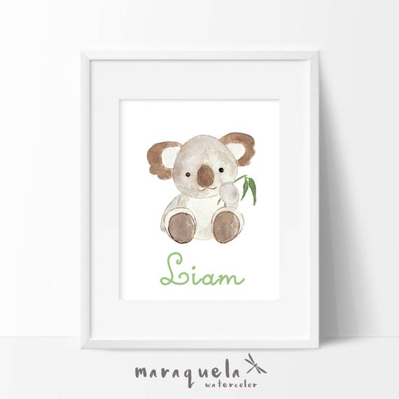 Watercolor KOALA with personalized name