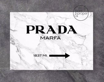 PRADA MARFA MARBLE Black & White - Art Print Poster Canvas