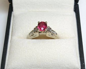 ruby engagement ring /ruby diamond engagement ring / white gold 14k ruby engagement ring /size 7