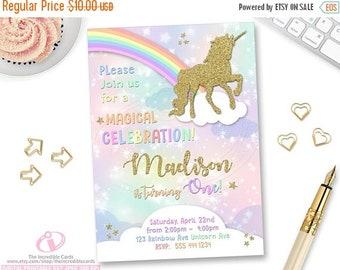 ON SALE Unicorn Invitation, Rainbow Invitation, Magical Birthday Invitation, Unicorn Birthday Invitation, Rainbow Birthday Invitation, Unico